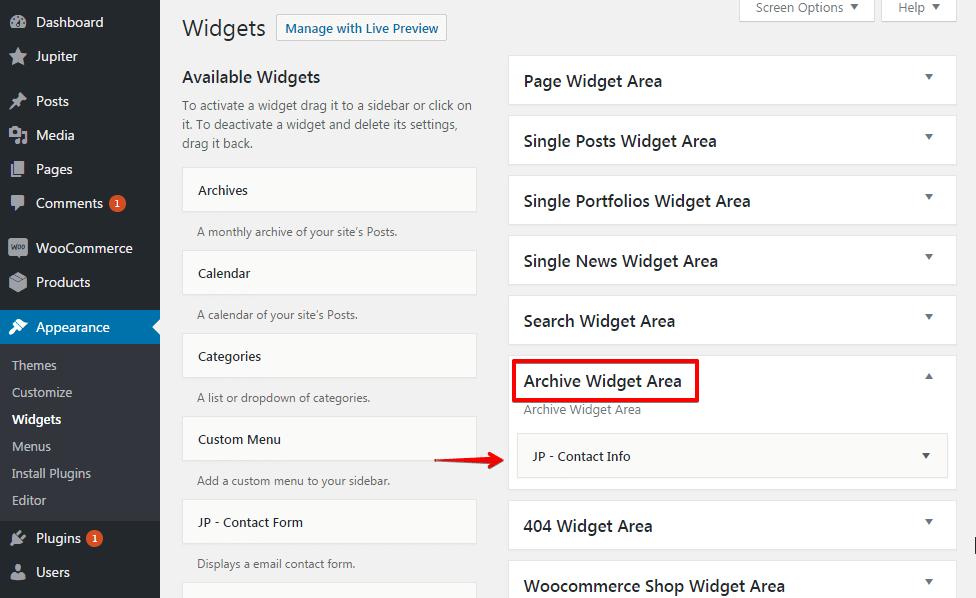Configuring portfolio archive - Archive widget area