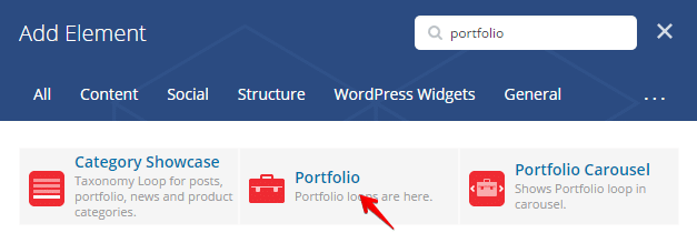 Portfolio shortcode - add element