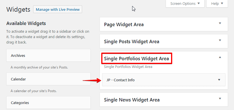 Creating a portfolio post - Single Portfolios Widget Area