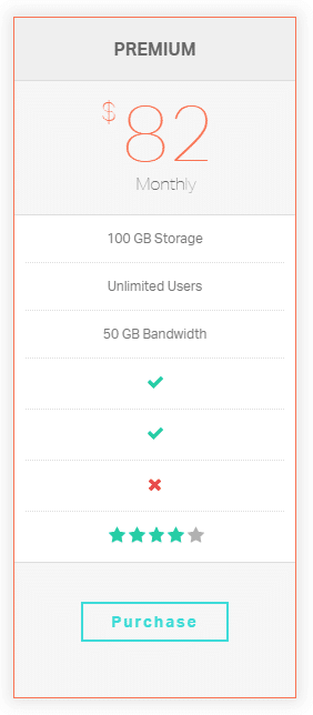 Pricing table (simple) shortcode - demo