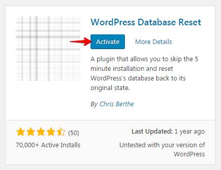 Resetting database - activate plugin