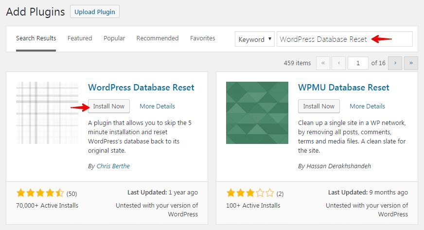 Resetting database - install plugin