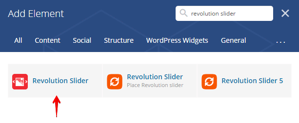 Revslider shortcode - search shortcode