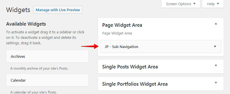 Sub navigation widget - widgets area