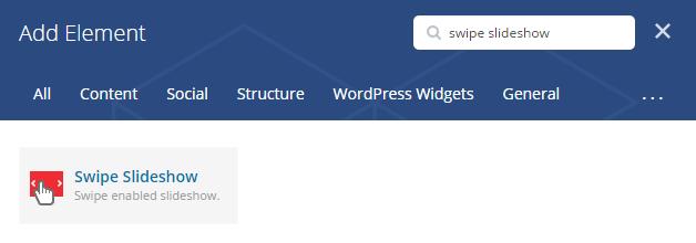 Swipe slideshow shortcode - add element