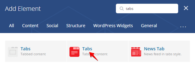 Tabs shortcode - add element