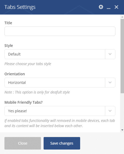Tabs shortcode - Tabs settings