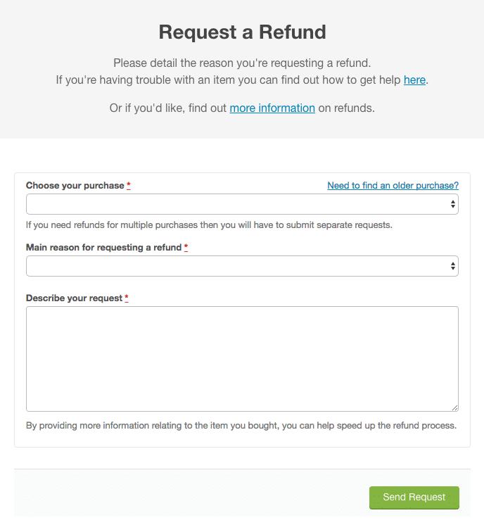 Getting a refund - ThemeForest refund request
