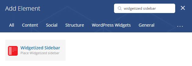 Widgetized sidebar shortcode - add element