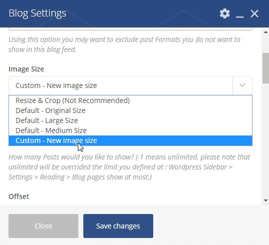 Defining custom image sizes - blog settings