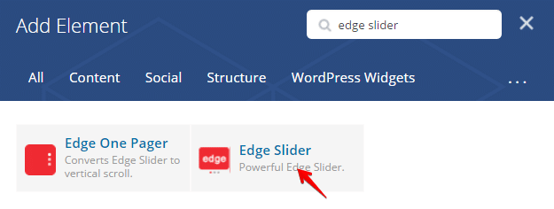 Edge slider shortcode - add element