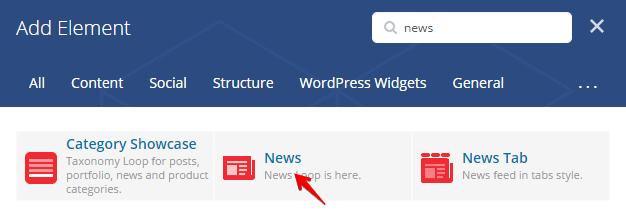 News shortcode - add element