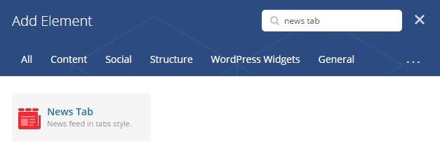 News tab shortcode - add element