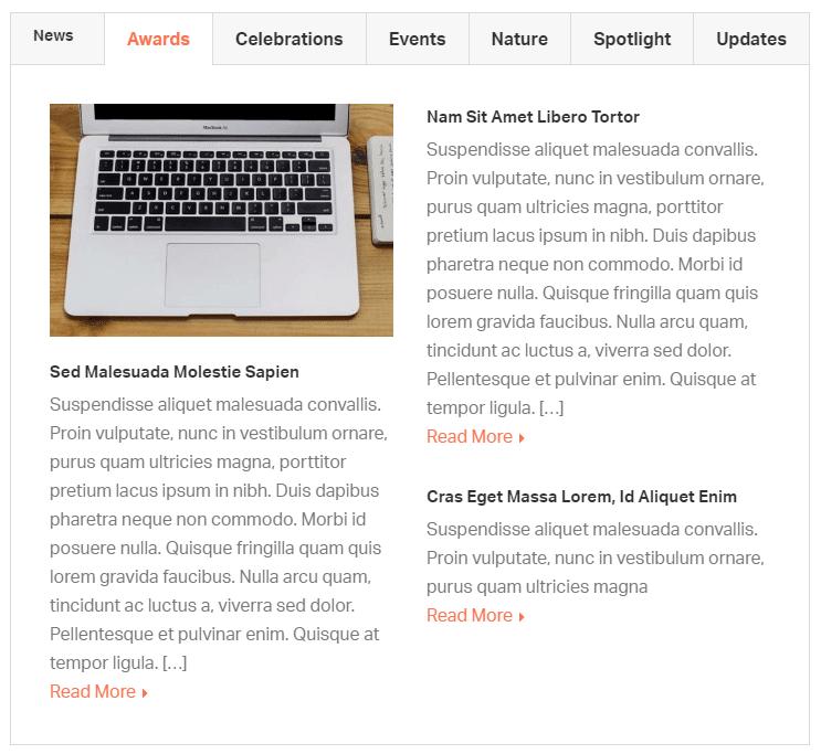 News tab shortcode - demo