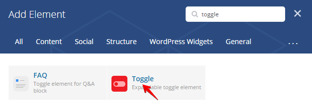 Toggle Shortcode - add element