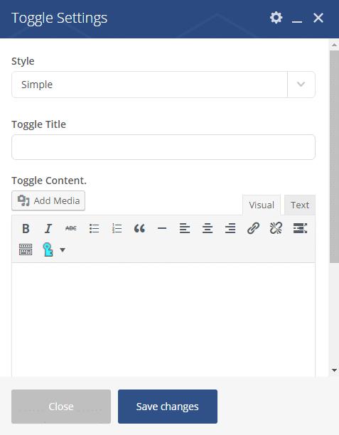 Toggle Shortcode - Toggle Settings