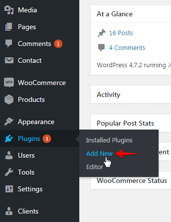 Installing plugins and add-ons - plugins menu