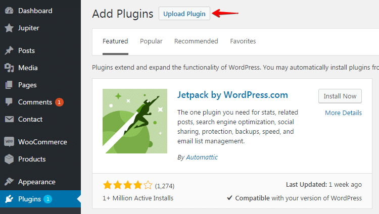 Installing plugins and add-ons - upload plugin
