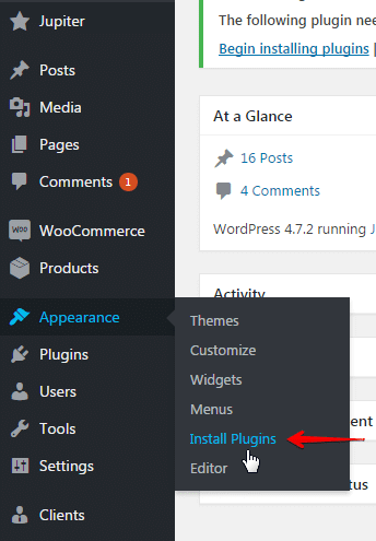 Installing plugins and add-ons - appearance menu