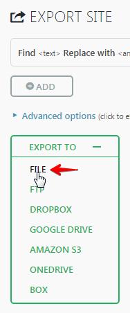 website migration - Export site