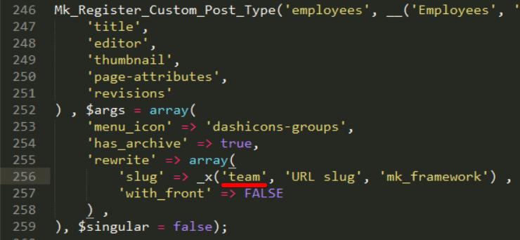 post types slug
