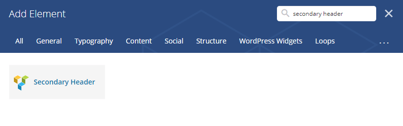 secondary header shortcode