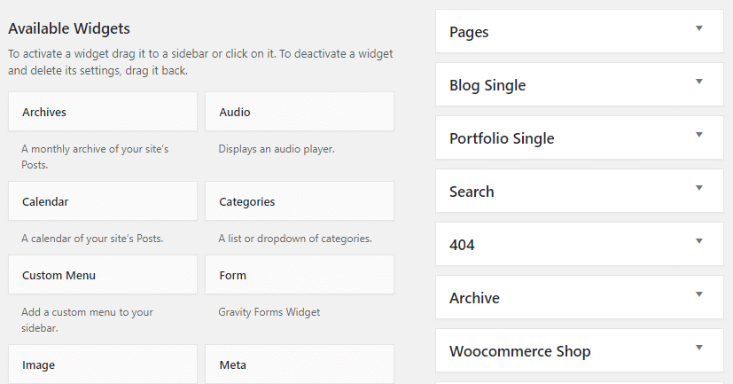 Adding widgets to a sidebar - widgets and areas