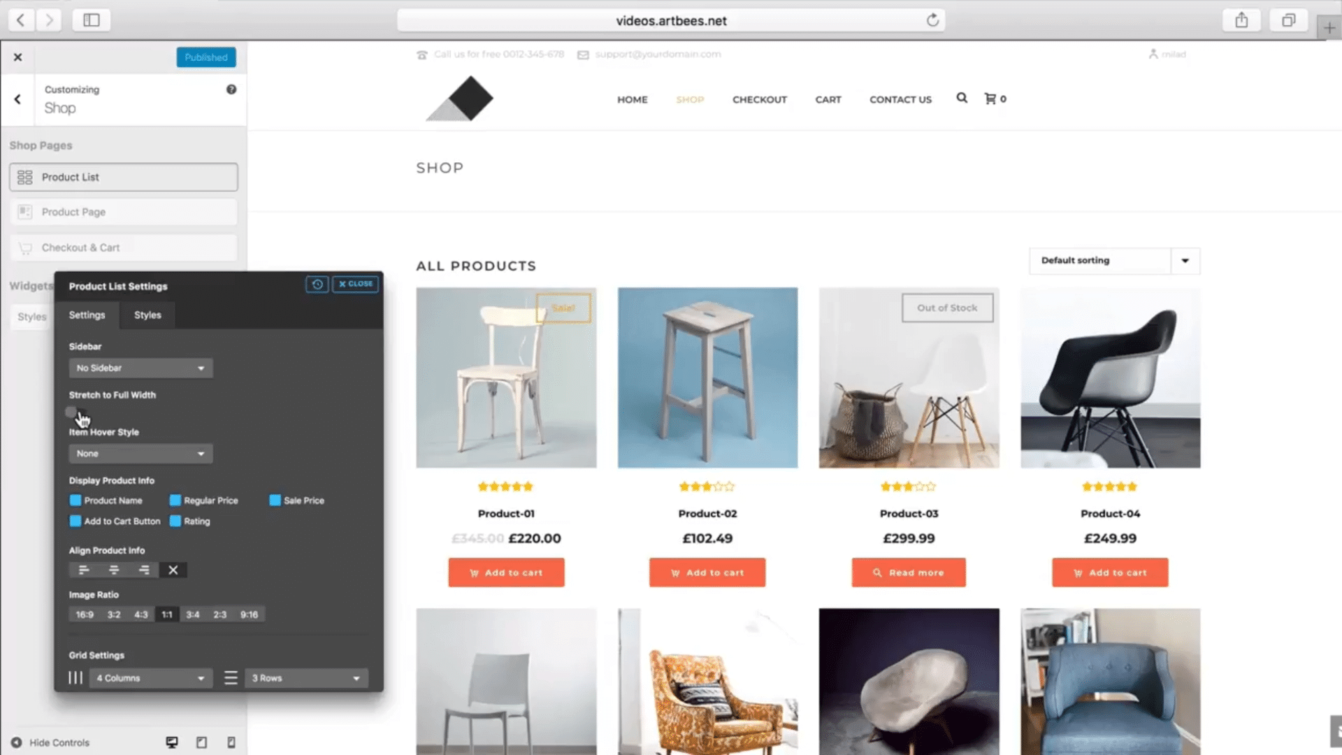 Shop Customizer – Product List