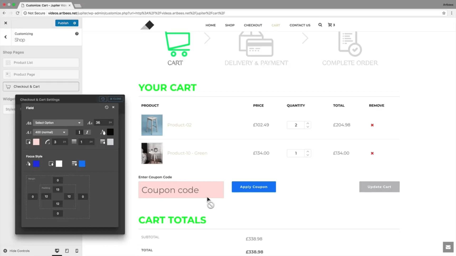 Shop Customizer – Checkout & Cart