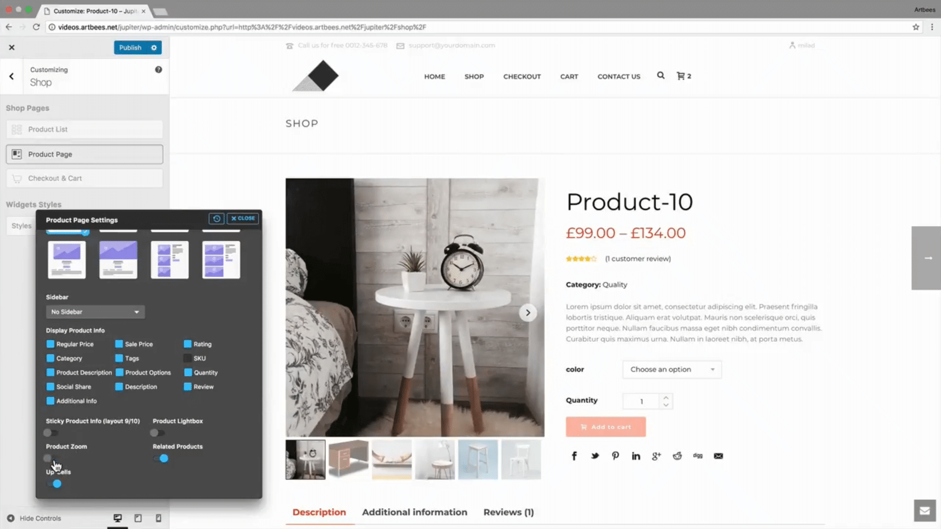 Shop Customizer – Products Page
