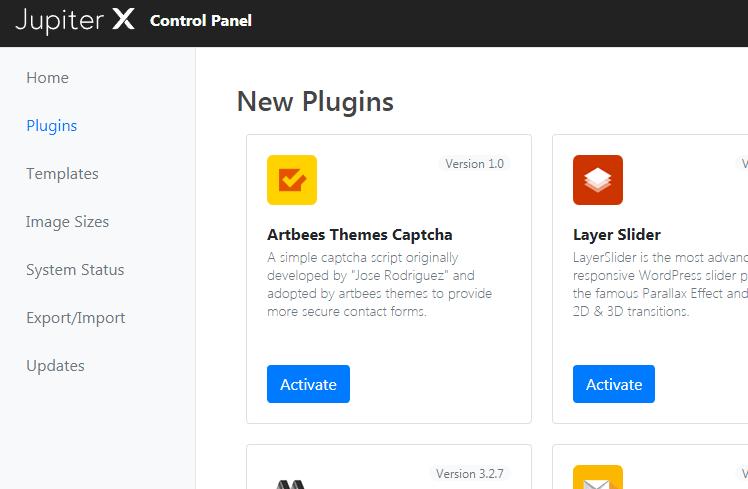 Jupiter-x-control-panel-plugins