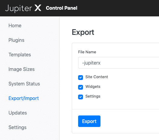 Export and Import the site data in Jupiter X (Deprecated